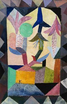 Paul Klee, Himmelsblüten über dem gelben Haus (Heavenly Flowers above the Yellow House (the Chosen House)), 1917 Watercolor on ArtStack #paul-klee #art