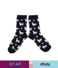 Hosiery & Socks Ladies Midnight Blue Unicorn Rainbow Mane Socks Uk Size 4-8 Eur 37-42 Usa 6-10 #ebay #Fashion