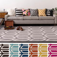 This rug represents a Retro Modern vibe for the happy chic home.  Throughout the design aesthetic, its fun nostalgia comes alive in the colorful vintage notes and infuses any space with vibrant energy while pairing well with Mid-Century Modern furniture.
