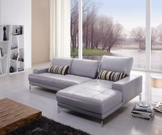 Hokku Designs Leather Sectional Upholstery: Grey, Orientation: Right Hand Facing Leather Reclining Sectional, Grey Sectional Sofa, Leather Sofa, Sofas, Home Decor Furniture, Sofa Furniture, Living Room Furniture, Furniture Design, Sofa Design