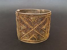 Ethiopia.  An exquisite old gilt silver cuff with fine filigree and granulation.  From the marvelous collection of Tesori Orientali.