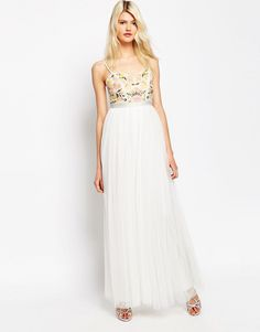 Image 4 of Needle & Thread Embroidery Floral Tulle Maxi Dress