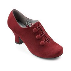Love the buttons on these 1940s style shoes. Nicola Heels  - Stylish adjustable fastening - Burgundy  $150.00 AT vintagedancer.com