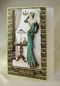 Card Making Project - Art Deco Lady in Green Decoupage Card Paris Cards, Decoupage, Art Deco Cards, Hunkydory Crafts, Tattered Lace Cards, Lace Art, Handmade Card Making, Beautiful Handmade Cards, Scrapbooking