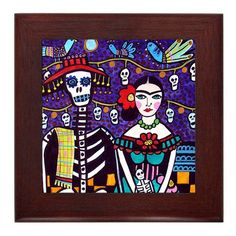 Day of the Dead Mexican Folk Art Ceramic Framed Tile by Heather Galler - Frida Kahlo Sugar Skulls Ready To Hang Tile Frame Gift