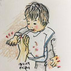 【Around midnight】右腕でテーブルにもたれ、左手の汚れを膝でふきふき。大好きなご飯タイムもこなれてきたムスッコです。Osuke loves eating. #baby #drawing #illustration #7months #おえかき #イラスト #赤ちゃん #新米ママ #ごはん #離乳食 #7ヶ月
