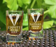 Groomsmen Shot Glasses - Groomsmen Gift Personalized Wedding Shot Glasses ship out in 3 business days. ***How To Personalize You Order*** During your checkout there will be a Gifts For Wedding Party, Fall Wedding, Wedding Favors, Rustic Wedding, Our Wedding, Dream Wedding, Wedding Souvenir, Wedding Parties, Wedding Ideas