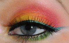 Tropical eye makeup.