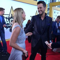 """""""It's like a family reunion,"""" Miranda Lambert tells PEOPLE of #ACMawards50 moments like this one with Luke Bryan on the red carpet"""