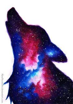 A galaxy wolf Galaxy Wolf, Galaxy Art, Cute Animal Drawings, Cute Drawings, Wolf Drawings, Anime Wolf Drawing, Watercolor Wolf, Wolf Artwork, Wolf Painting
