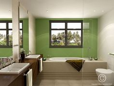 White and green tiled walls with brown features. Modern bathroom / ensuite design.