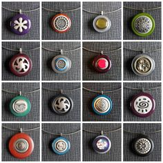 Button Pendants - Eveline Peeters, a Dutch jewelry designer, combines old buttons into beautiful pendants. Every pendant is unique and a great conversation piece!