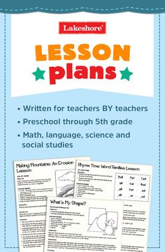 Look to Lakeshore for free lesson plans for language, math, science, and social studies! Our lesson plans were written by former teachers—and are great for preschool through fifth-grade students.
