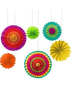 Fiesta Assorted Haging Paper Fans-Party City