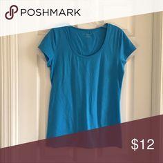 Ann Taylor Blue Round Neck T-shirt- M Blue Ann Taylor round neck t-shirt.  Size- M. Good condition. 95% Cotton. 5% Spandex.  Machine wash & dry. Ann Taylor Tops Tees - Short Sleeve