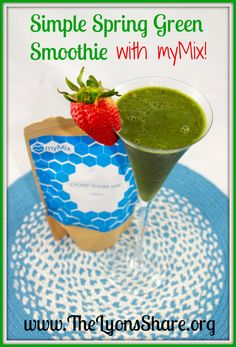 "Megan Lyons' ""Simple Spring Green Smoothie"". Check out her recipe with her myMix powder at http://www.thelyonsshare.org/2014/03/30/7-reasons-im-excited-about-mymix-nutrition/"