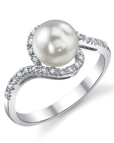 Exquisite Pearl - AA+ Quality Akoya Pearl & Diamond Cheryl Ring - The Pearl Source