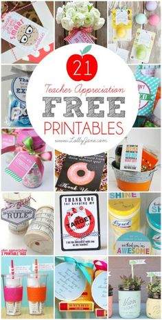 Take a look at all these ways to show your teacher you are thankful with these FREE Teacher Appreciation Printables. Affordable teacher appreciation ideas! Free teacher appreciation gift tags! LOTS of great teacher thank you ideas!