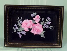Hand Painted Roses Floral Tray
