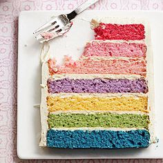 This fun rainbow layered cake makes a beautiful (and delicious!) dessert for St. Patrick's Day.