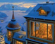 Художник нарисовал зиму такой уютной что ее хочется обнять