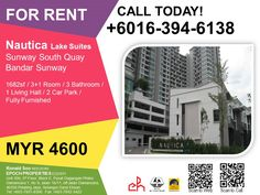 For Rent Condominium at Nautica Lake Suites @ Sunway South Quay, Bandar Sunway Leasehold Fully Furnished 3+1R/3B MYR4.6k  For more information, please contact: 016-394-6138    #imronaldsoo #epochproperties