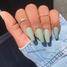Nails ideas Best Summer Matte Nails Designs You Must Try Nail trends and colors change with . Best Summer Matte Nails Designs You Must Try Nail trends and colors change with the seasons.There are some new nail ideas out for people who like glossy or Perfect Nails, Gorgeous Nails, Matte Acrylic Nails, Matte Green Nails, Plain Acrylic Nails, Plain Nails, Matte Nail Polish, Ballerina Acrylic Nails, Acrylic Nail Designs Glitter