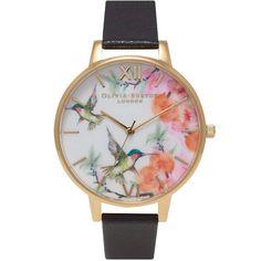 Olivia+Burton+Watch+-+Painterly+Print+-+Hummingbird+Black+&+Gold+(twistedtime.com)