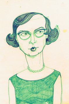 www.katherinesandoz.com, flannery o'connor, prismacolor on index, 2011
