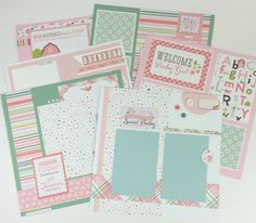 Baby Girl Scrapbook Page Kit or Premade Pre-Cut with Instructions Six Pages 12x12 Scrapbook This is a pre-cut Do-it-yourself scrapbook kit that