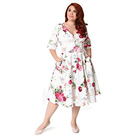 245736cfd30f9 Unique Vintage Plus Size White Floral Posey Delores Swing Dress     Learn  more by visiting the image link.