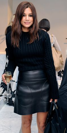 black leather skirt with 3/4 or long sleeve black shirt