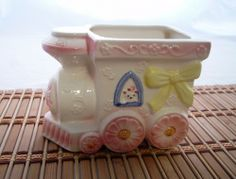 Nancy Pew Train Planter, Giftwares Ceramic, Pastel Baby Motif, 50s 60s | CandyAppleCrafts - Ceramics & Pottery on ArtFir