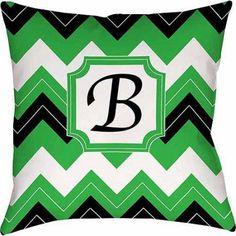 Thumbprintz Chevron Monogram Decorative Indoor/Outdoor Pillow, Black
