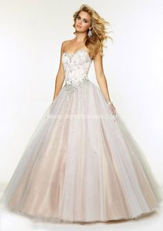 2015 Long Mori Lee 97076 Beading Lace Tulle Ball Gown White/Nude