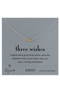 This is such a sweet little necklace. :: Three Wishes