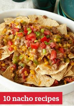 10 Nacho Recipes — If you think nachos are just party appetizers think again! This collection also includes quick and easy dinners, too -- with quick skillet dishes, cheesy nacho casseroles and nacho entree salads.