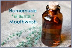 Homemade Mouthwash - A Natural Antibacterial Recipe. A container – I use a small mason jar ½ cup filtered or distilled water 2 tsp baking soda 2 drops tea tree essential oil 2 drops peppermint essential oil Tea Tree Essential Oil, Essential Oils, Homemade Mouthwash, Homemade Toothpaste, Small Mason Jars, It Goes On, Homemade Beauty Products, Natural Products, Beauty Recipe
