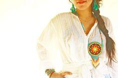 Huichol necklace unique Mexican heart secret bag bohemian chic ethnic Azul Turquesa | Aida Coronado