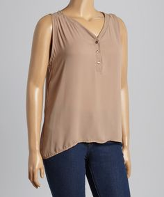 Look at this Beige Sleeveless Button-Up Top - Plus on #zulily today!