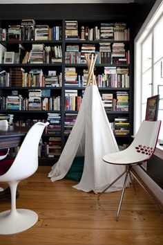 A cozy reading teepee. A nice place to munch on trail mix and snuggle up to a good book.