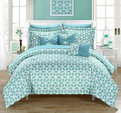 Chic Home Stefanie 10 Piece Comforter Set Geometric Diamond Printed Reversible Bed in a Bag with White Sheets Included, Queen Green White Sheets, Flat Sheets, Bed Sheets, King Beds, Queen Beds, King Comforter, Comforter Sets, Console, Bed In A Bag
