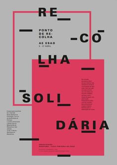 Typographic Poster - Recolha Solidária on Behance Web Design, Graphic Design Layouts, Graphic Design Posters, Graphic Design Typography, Graphic Design Illustration, Book Design, Bts Design Graphique, Mises En Page Design Graphique, Art Graphique