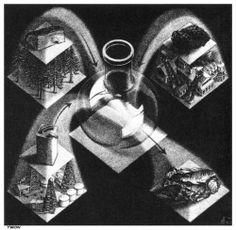 """M. C. Escher- """"Synthesis""""- April1947, Lithograph."""