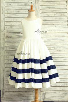 Ivory/Navy Blue Stripe Taffeta Flower Girl Dress by misdress