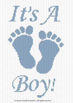 Diy Crafts - Crochet Patterns - It's A Boy Footprints Graph Pattern Wedding Cross Stitch Patterns, Cross Stitch Pattern Maker, Baby Afghan Patterns, Quilt Patterns Free, Tunisian Crochet Stitches, Crochet Stitches Patterns, Baby Blanket Crochet, Crochet Baby, Single Crochet