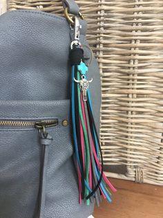 Southwestern Style Tassel Bag Charm or Key Chain Bright Faux Leather Fringe  Tassel for Handbag Choo e6c5018e443d0