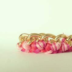 Gold chain pink bracelet from mcintoshjewelry.etsy.com