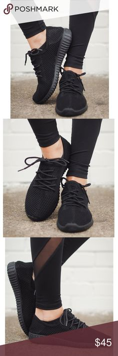 """🆕AMALIA uber comfy sneakers - BLACK Go that extra mile with your sneaker style!   Black, comfy sneakers with black ribbed sole. The mesh design creates extra breathability for a comfortable fit.   Approx. Measurements:Sole: 1.75"""".  *Fit is true to size.  🚨🚨NO TRADE, PRICE FIRM🚨🚨 Shoes Sneakers"""