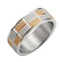 Sparkling Stainless Steel Silver Gold Mens Ring 8mm Band | RnBJewellery